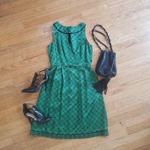 Antonio Melani Green Silk Sleeveless Dress